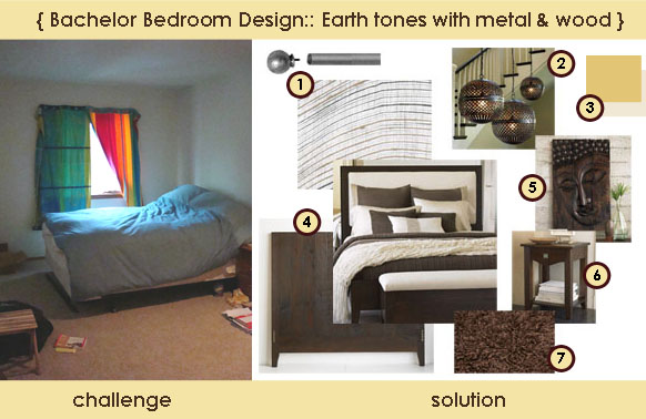 Bachelor Bedroom Design:: Brown tones with metal and wood